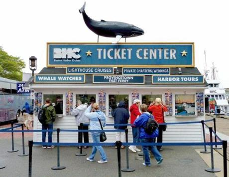 The Boston Harbor Cruises kiosk at Long Wharf.
